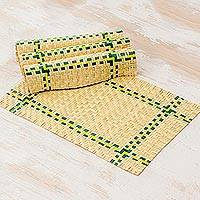 Palm leaf placemats, 'Dinner Celebration' (set of 4) - Handcrafted Guatemalan Palm Leaf Placemats (Set of 4)