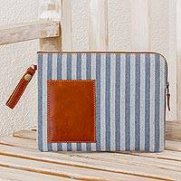 Leather accent recycled cotton portfolio, 'Business Elegance' - Striped Leather Accent Recycled Cotton Portfolio
