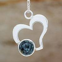 Jade heart pendant necklace, 'Live to Love' - Romantic Necklace with 925 Silver Heart and Jade Accent
