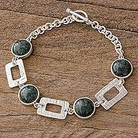 Jade link bracelet, 'Beauty and Elegance' - Handcrafted Textured Sterling Silver Bracelet with Dark Jade