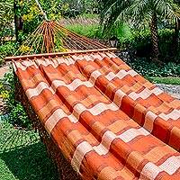 Cotton hammock, 'Sun-Kissed Desert' (single) - Handwoven Striped Cotton Single Hammock from Guatemala