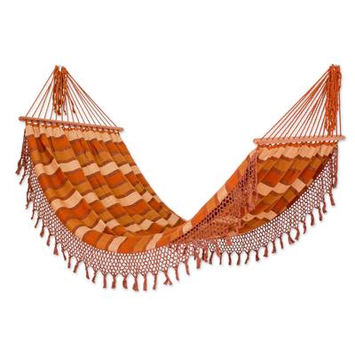 Handwoven Striped Cotton Single Hammock from Guatemala
