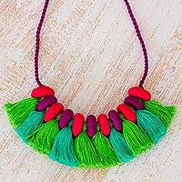 Cotton waterfall necklace, 'Weekend Fiesta' - Handmade Adjustable Cotton Waterfall Necklace from Guatemala
