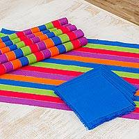 Cotton placemats and napkins, 'Harvest Trails' (set of 6) - Six Multicolored Striped Cotton Placemats and Napkins