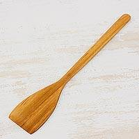 Teakwood spatula, 'Cooked with Love' - Handcrafted Teakwood Spatula from Guatemala