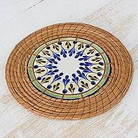 Ceramic and pine needle trivet, 'Country Helper' - Handcrafted Ceramic and Pine Needle Trivet from Guatemala