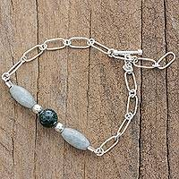Jade beaded bracelet, 'Subtle Freshness' - Jade and Sterling Silver Beaded Bracelet from Guatemala