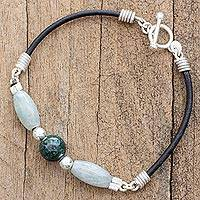 Jade pendant bracelet, 'Ancient Elegance' - Jade and Sterling Silver Beaded Bracelet from Guatemala