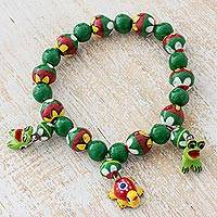 Ceramic beaded stretch bracelet, 'Pond Buddies' - Ceramic Bracelet with Frogs and Turtle from Guatemala