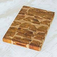 Teakwood cutting board, 'Home Flavors' - Handcrafted Teakwood Cutting Board from Guatemala