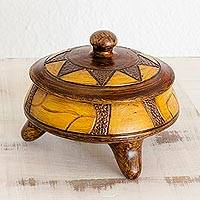 Decorative ceramic vessel, 'Strokes of History' - Decorative Ceramic Vessel with Lid and Sun Design