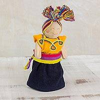 Wood decorative doll, 'Friendly One' - Black and Yellow Decorative Worry Doll from Guatemala