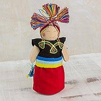 Wood decorative doll, 'Friendly Expression' - Black and Red Decorative Worry Doll from Guatemala