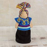 Wood decorative doll, 'Hopeful Friend' - Blue and Black Pine Wood Worry Doll from Guatemala