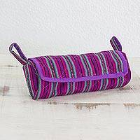 Cotton jewelry case, 'Amethyst Berry' - Handwoven Striped 100% Cotton Jewelry Case from Guatemala