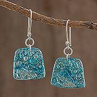 Recycled CD dangle earrings, 'Ocean Reflections' - Ocean Reflection Recycled CD Earrings on 925 Silver Hooks