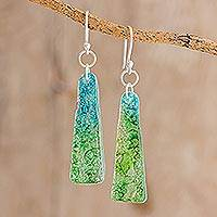 Recycled CD dangle earrings, 'Peaceful Life' - Recycled CD Earrings on 925 Silver Hooks Handcrafted Jewelry