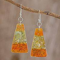 Recycled CD dangle earrings, 'Rising Sun' - Artisan Crafted Recycled CD Hook Earrings from Guatemala
