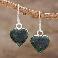Jade dangle earrings, 'Verde Hearts' - Heart-Shaped Green Jade Dangle Earrings from Guatemala