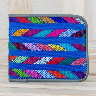 Cotton and leather wallet, 'Colors of the Sea' - Multicolored Leather and Cotton Wallet from Guatemala