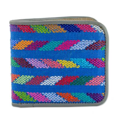 Multicolored Leather and Cotton Wallet from Guatemala