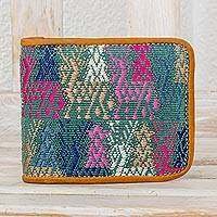 Cotton and leather wallet, 'Colors of the Meadow' - Multicolored Cotton and Leather Wallet from Guatemala
