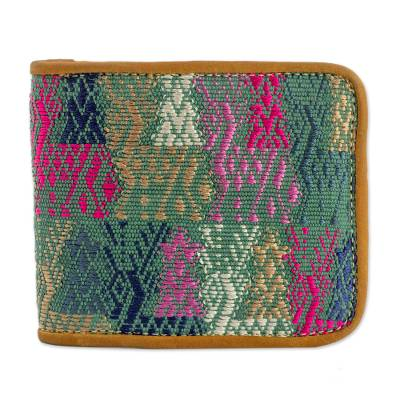 Multicolored Cotton and Leather Wallet from Guatemala