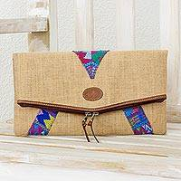 Jute and cotton clutch handbag, 'Colors of the Earth' - Jute Clutch Handbag with Cotton and Leather Accents