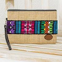 Jute and cotton wristlet, 'Colorful Love' - Jute Wristlet with Cotton and Leather Accents