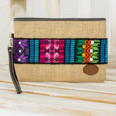 Jute and cotton wristlet, Colorful Love