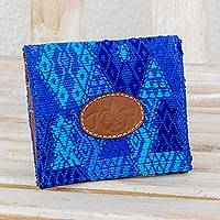Cotton and leather card holder, 'Colors of the Sky' - Blue 100% Cotton and Leather Card Holder from Guatemala