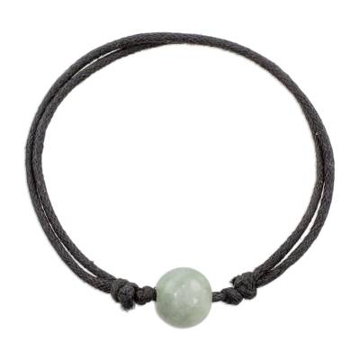 Handcrafted Apple Green Jade Sliding Knot Cotton Cord Pendant Bracelet