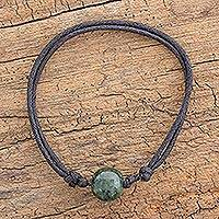 Jade pendant bracelet, 'Loving Life in Dark Green' - Adjustable Dark Green Jade Pendant Bracelet from Guatemala