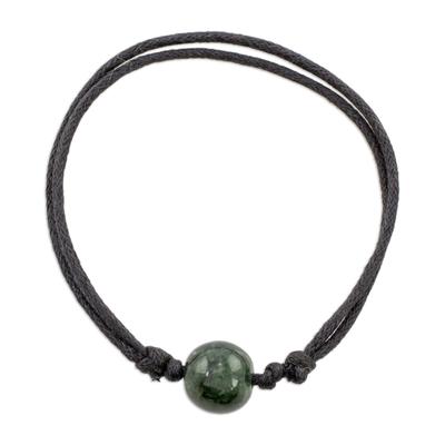 Jade pendant bracelet, 'Loving Life in Dark Green' - Adjustable Dark Green Jade Pendant Bracelet from Guatemala