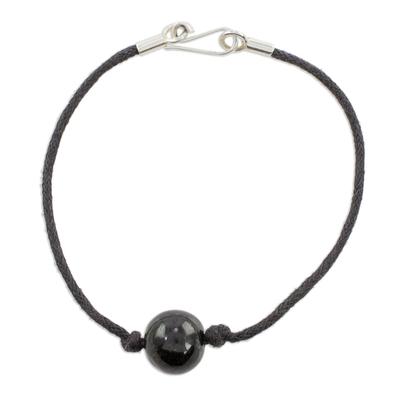 Jade pendant bracelet, 'Beautiful Virtue' - Black Jade Pendant Bracelet from Guatemala