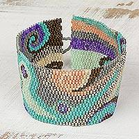Glass beaded wristband bracelet, 'Colorful Maya' - Colorful Glass Beaded Wristband Bracelet from Guatemala
