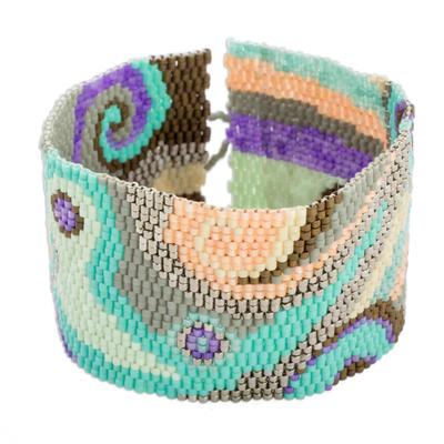 Glass beaded wristband bracelet, 'Colorful Maya' - Colorful Glass Beaded Wristband Bracelet from Guatemala