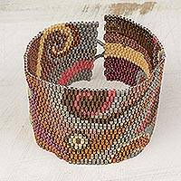 Glass beaded wristband bracelet, 'Fiery Maya' - Colorful Glass Beaded Wristband Bracelet from Guatemala