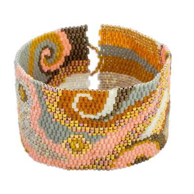 Glass beaded wristband bracelet, 'Golden Maya' - Colorful Glass Beaded Wristband Bracelet from Guatemala