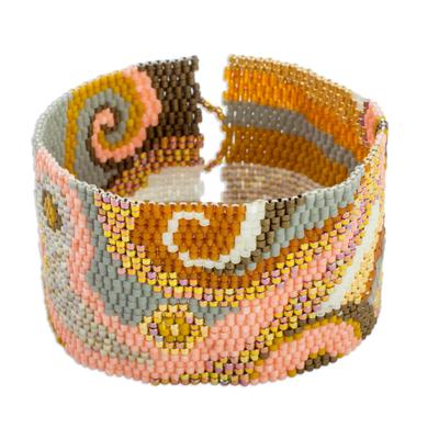 Glass beaded wristband bracelet, 'Golden Maya' - Colorful Glass Beaded Wristband Bracelet from Guatemala