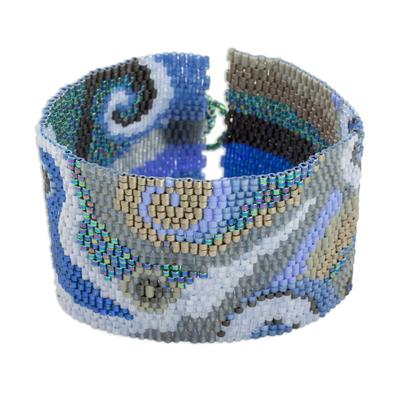 Glass beaded wristband bracelet, 'Oceanic Maya' - Colorful Glass Beaded Wristband Bracelet from Guatemala