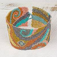 Glass beaded wristband bracelet, 'Bubbling Maya' - Colorful Glass Beaded Wristband Bracelet from Guatemala