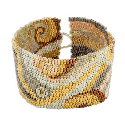 Glass beaded wristband bracelet, 'Elegant Maya' - Colorful Glass Beaded Wristband Bracelet from Guatemala
