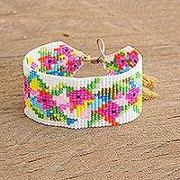 Glass beaded wristband bracelet, 'Brilliant Flowers' - Colourful Glass Beaded Wristband Bracelet from Guatemala