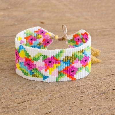 Glass beaded wristband bracelet, 'Brilliant Flowers' - Colourful Glass Beaded Wristband Bracelet from Guatemala