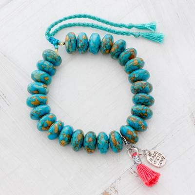 Beaded bracelet, 'Ancient Style' - Magnesite Beaded Bracelet with Charms from Guatemala