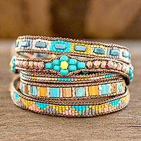 Glass beaded wrap bracelet, 'Country Colors'