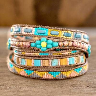 Glass beaded wrap bracelet, 'Country Colors' - Colourful Glass Beaded Wrap Bracelet from Guatemala
