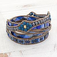 Glass beaded wrap bracelet, 'Country Waters'