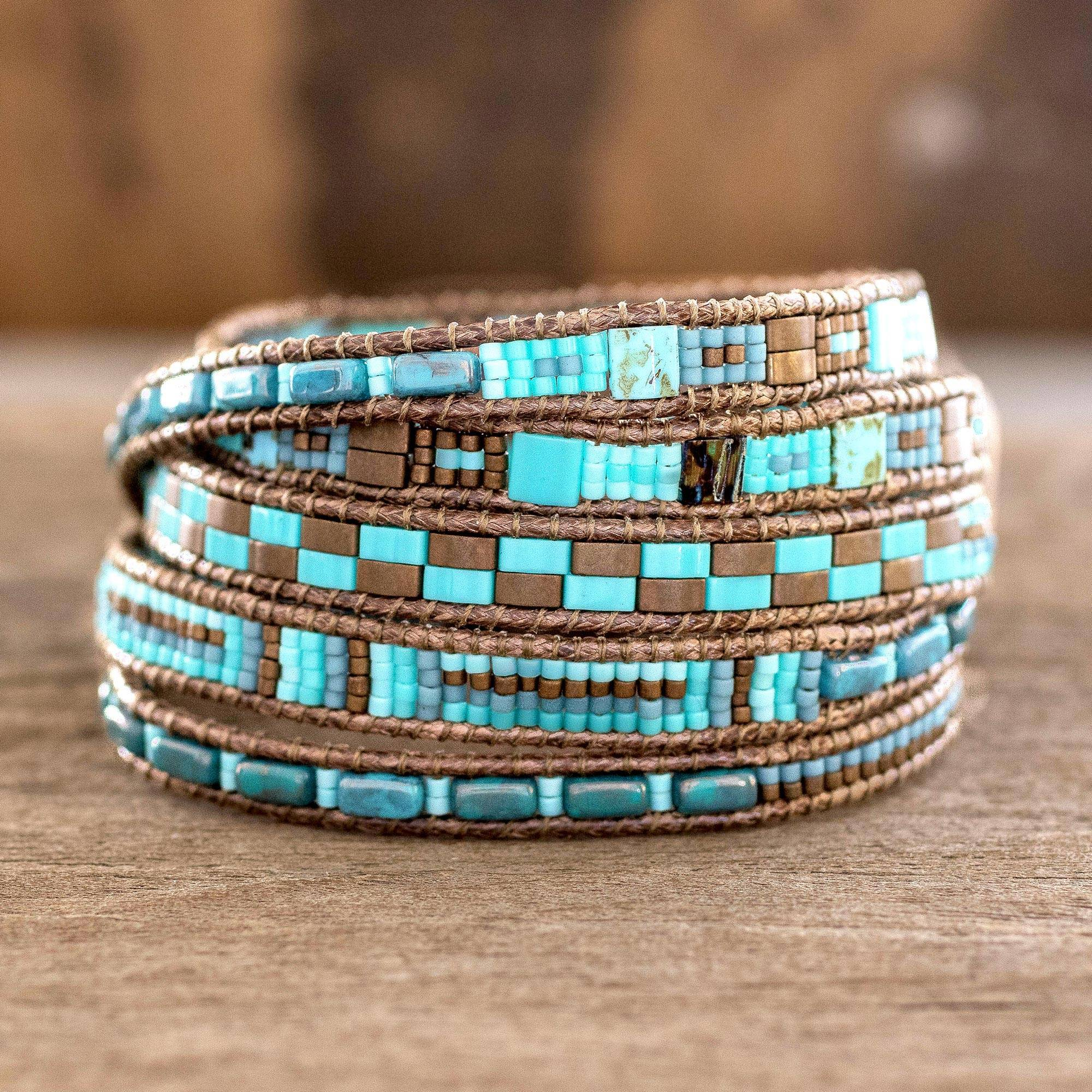 Glass Beaded Wrap Bracelet, 'traditional Style'  Colorful Glass Beaded  Wrap Bracelet From